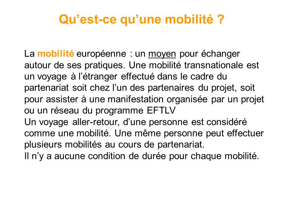 Quest-ce quune mobilité ? La mobilité européenne : un moyen pour échanger autour de ses pratiques. Une mobilité transnationale est un voyage à létrang