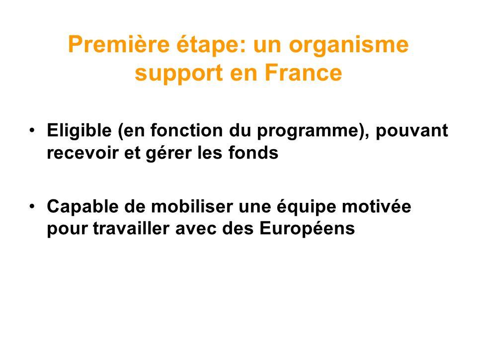Première étape: un organisme support en France Eligible (en fonction du programme), pouvant recevoir et gérer les fonds Capable de mobiliser une équip