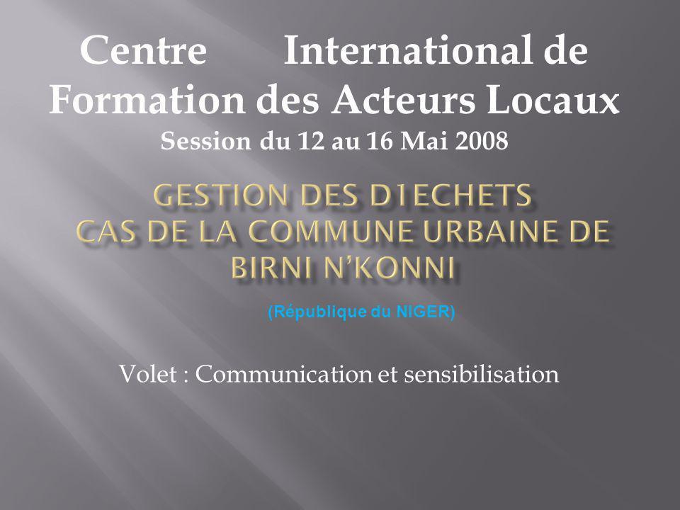 Volet : Communication et sensibilisation Centre International de Formation des Acteurs Locaux Session du 12 au 16 Mai 2008 (République du NIGER)