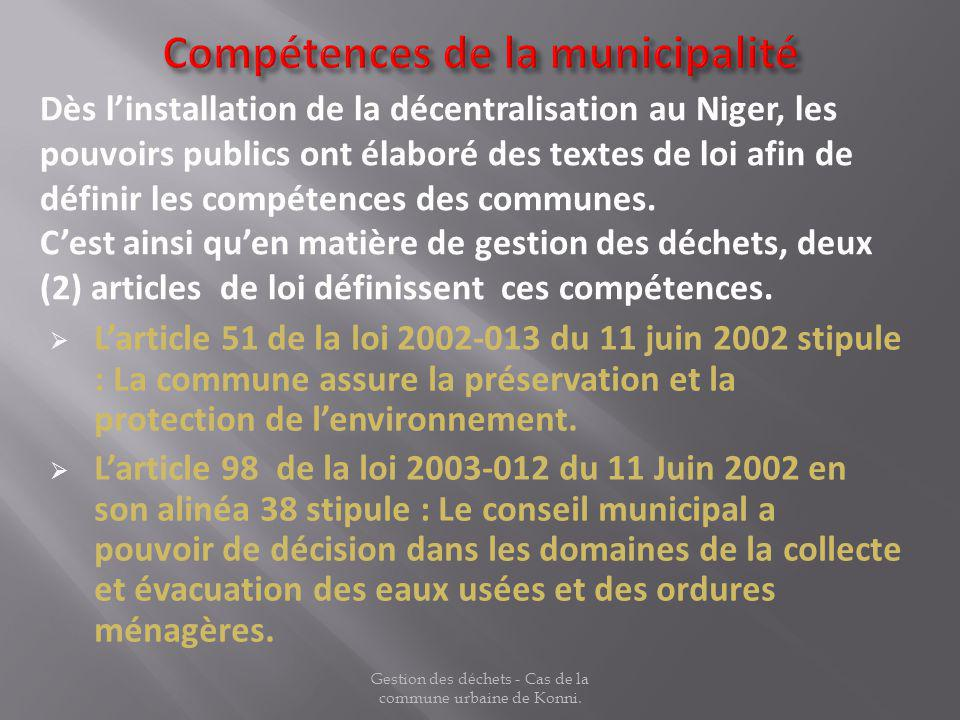 Larticle 51 de la loi 2002-013 du 11 juin 2002 stipule : La commune assure la préservation et la protection de lenvironnement. Larticle 98 de la loi 2