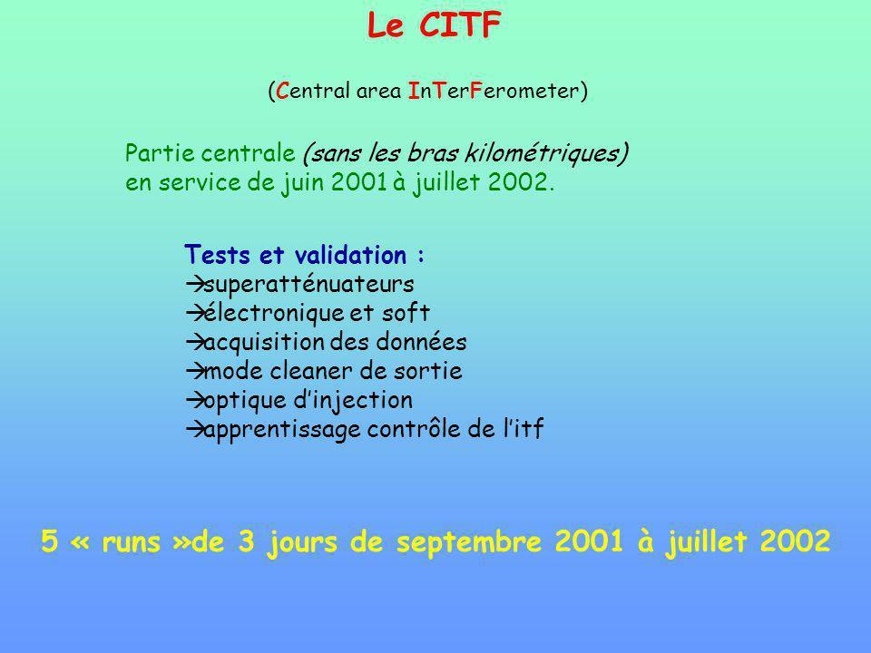 Le CITF (Central area InTerFerometer) Partie centrale (sans les bras kilométriques) en service de juin 2001 à juillet 2002. Tests et validation : supe