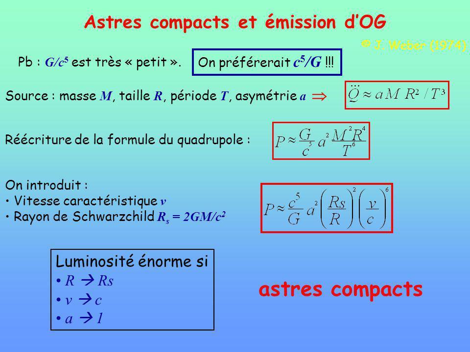 Astres compacts et émission dOG Pb : G/c 5 est très « petit ».