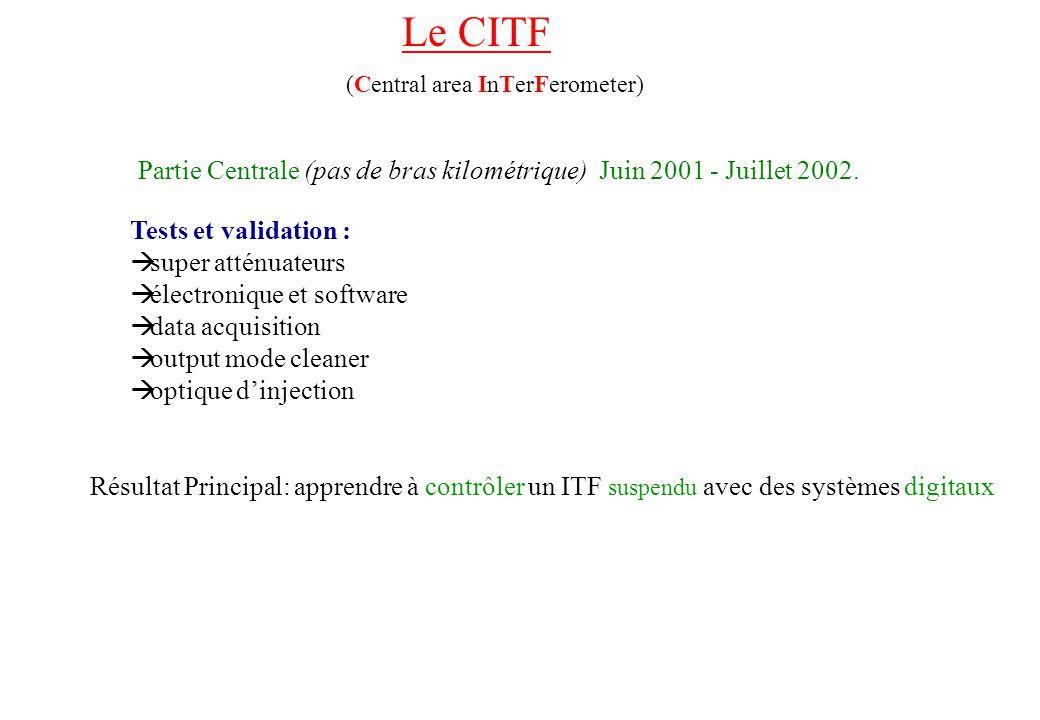 Le CITF (Central area InTerFerometer) Partie Centrale (pas de bras kilométrique) Juin 2001 - Juillet 2002. Tests et validation : super atténuateurs él