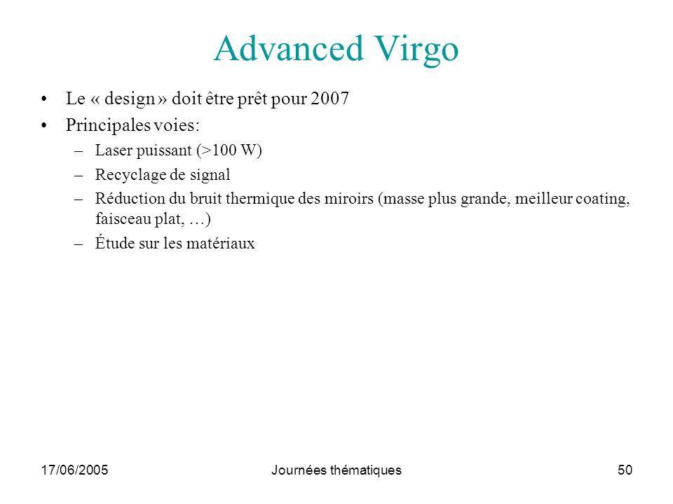 17/06/2005Journées thématiques50 Advanced Virgo Le « design » doit être prêt pour 2007 Principales voies: –Laser puissant (>100 W) –Recyclage de signa