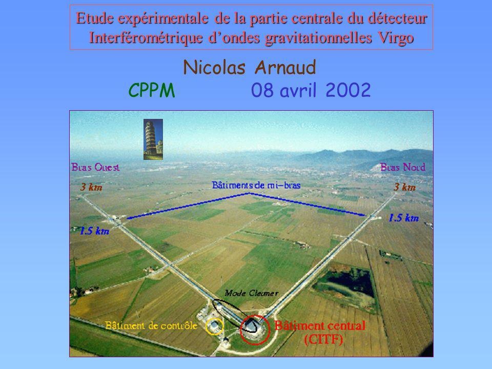 Etude expérimentale de la partie centrale du détecteur Interférométrique dondes gravitationnelles Virgo Nicolas Arnaud CPPM 08 avril 2002