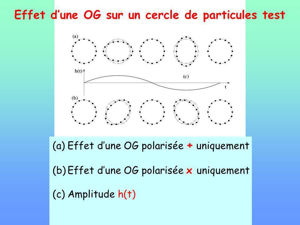 Effet dune OG sur un cercle de particules test (a)Effet dune OG polarisée + uniquement (b)Effet dune OG polarisée x uniquement (c)Amplitude h(t)