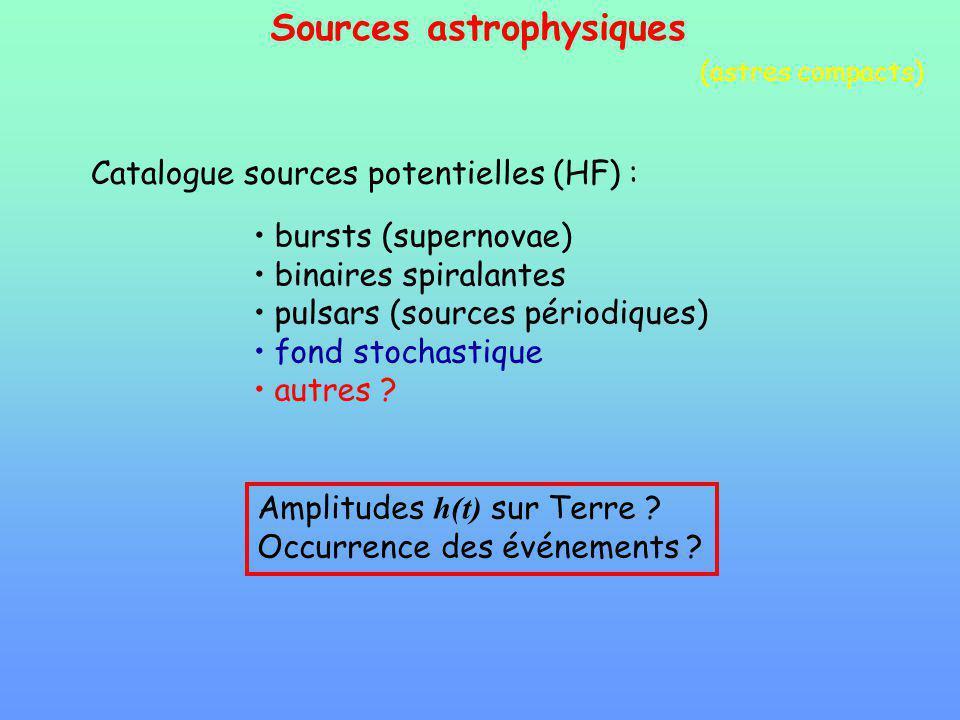 Sources astrophysiques Catalogue sources potentielles (HF) : bursts (supernovae) binaires spiralantes pulsars (sources périodiques) fond stochastique autres .