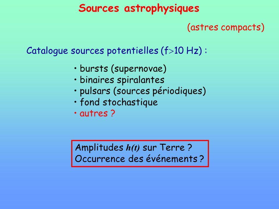 Sources astrophysiques Catalogue sources potentielles (f 10 Hz) : bursts (supernovae) binaires spiralantes pulsars (sources périodiques) fond stochast