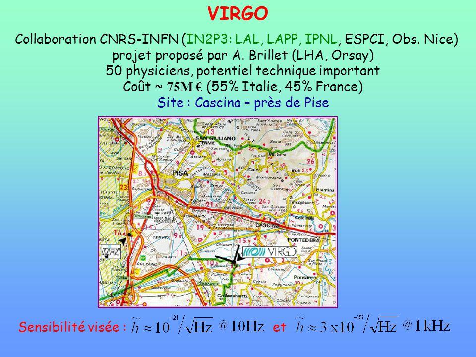 VIRGO Collaboration CNRS-INFN (IN2P3: LAL, LAPP, IPNL, ESPCI, Obs. Nice) projet proposé par A. Brillet (LHA, Orsay) 50 physiciens, potentiel technique