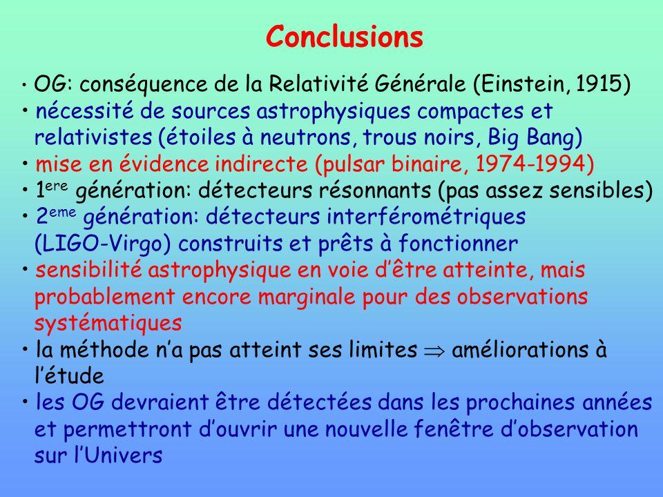 Conclusions OG: conséquence de la Relativité Générale (Einstein, 1915) nécessité de sources astrophysiques compactes et relativistes (étoiles à neutro