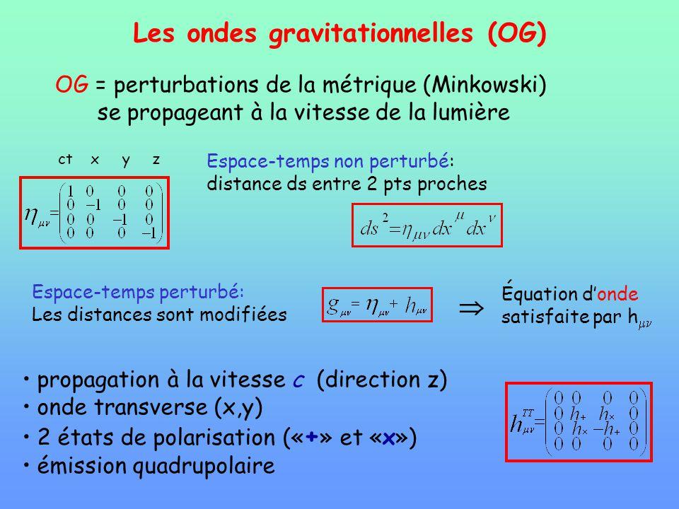 Les ondes gravitationnelles (OG) OG = perturbations de la métrique (Minkowski) se propageant à la vitesse de la lumière propagation à la vitesse c (di