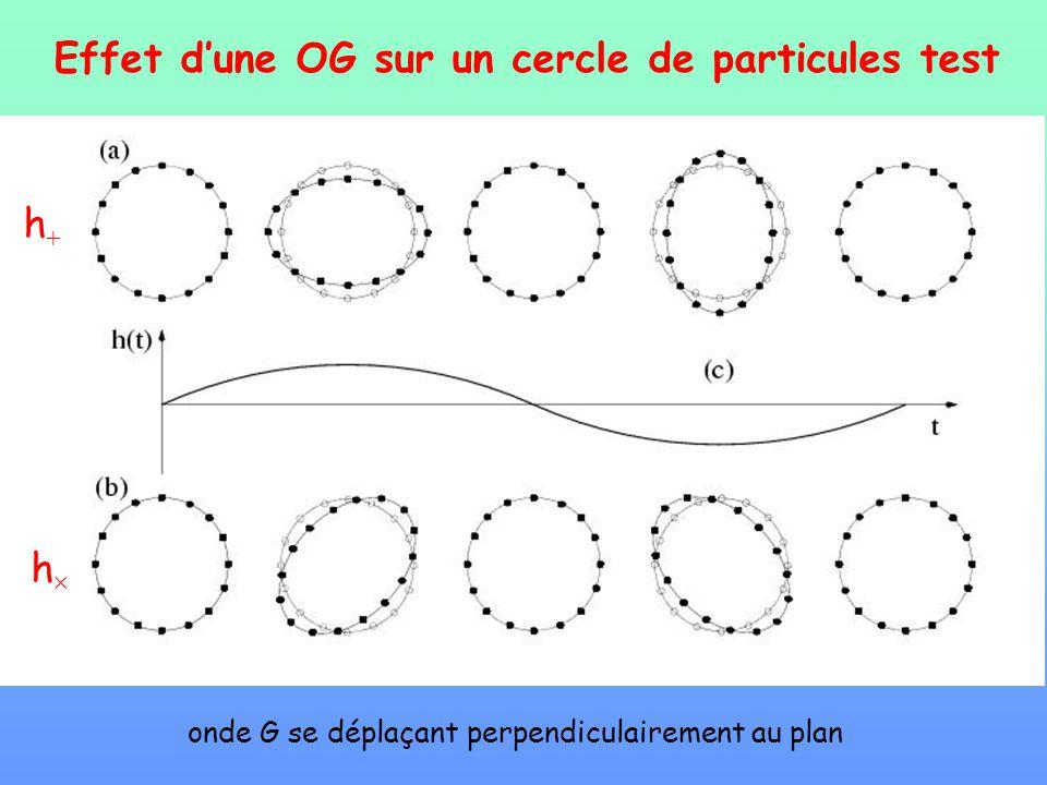 Effet dune OG sur un cercle de particules test h h onde G se déplaçant perpendiculairement au plan