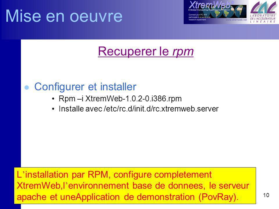 10 L installation par RPM, configure completement XtremWeb,l environnement base de donnees, le serveur apache et uneApplication de demonstration (PovRay).