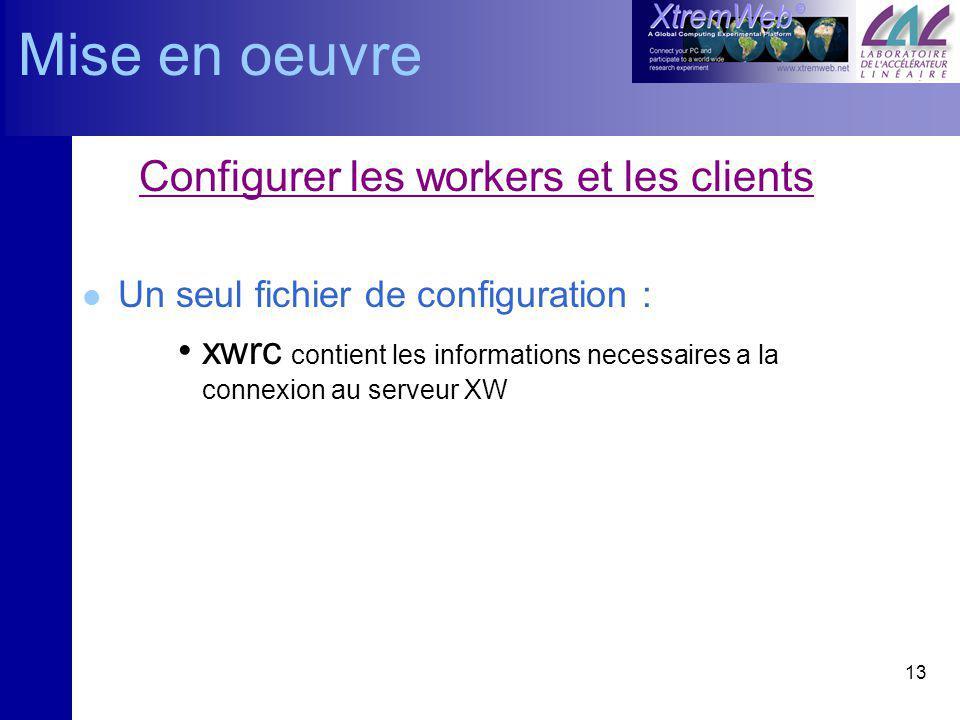13 Configurer les workers et les clients l Un seul fichier de configuration : xwrc contient les informations necessaires a la connexion au serveur XW Mise en oeuvre