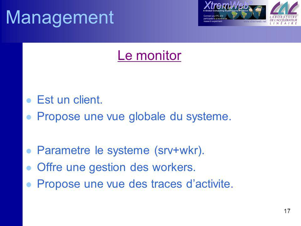 17 Le monitor l Est un client. l Propose une vue globale du systeme.