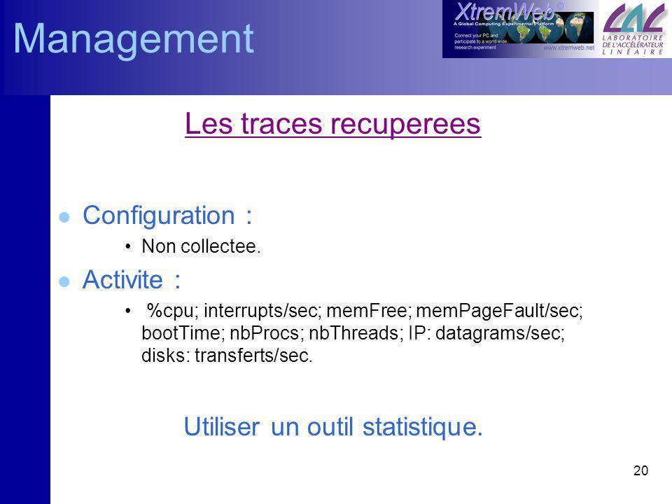 20 Les traces recuperees l Configuration : Non collectee. l Activite : %cpu; interrupts/sec; memFree; memPageFault/sec; bootTime; nbProcs; nbThreads;