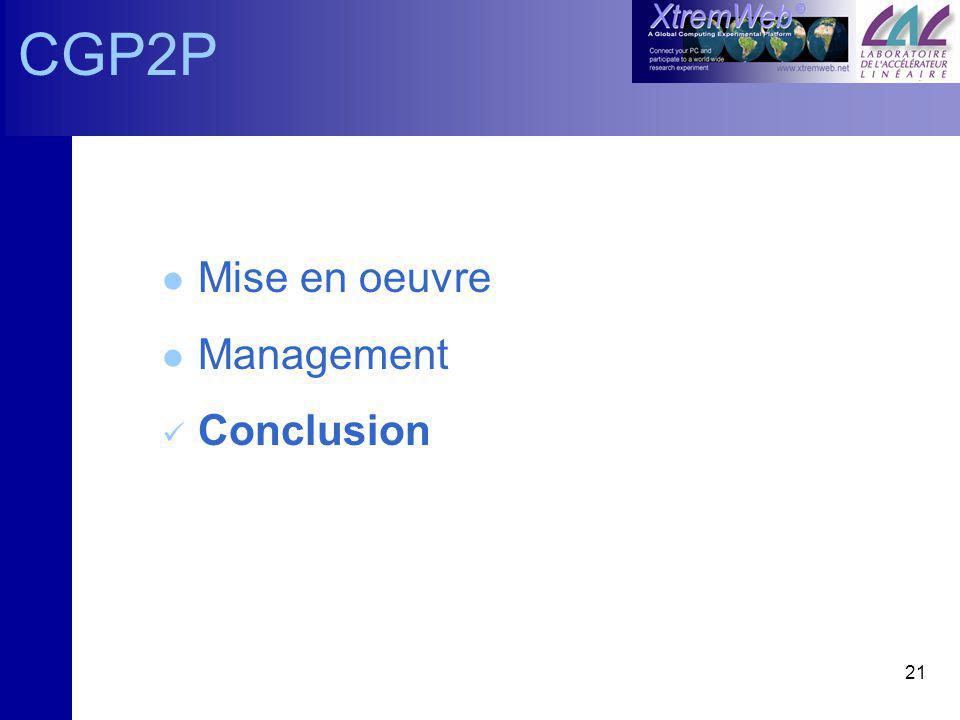 21 CGP2P l Mise en oeuvre l Management Conclusion
