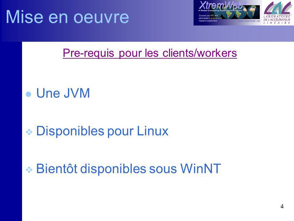 4 Pre-requis pour les clients/workers l Une JVM Disponibles pour Linux Bientôt disponibles sous WinNT Mise en oeuvre