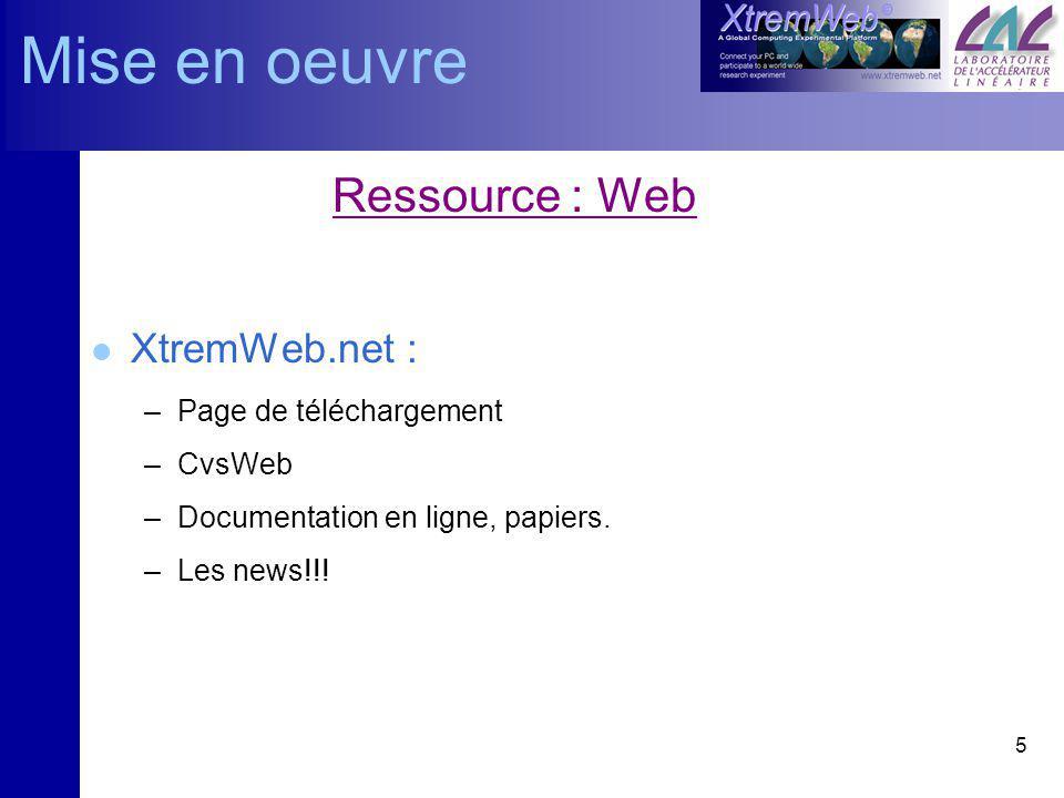 6 Ressource : Mailing list l Sinscrire: –Envoyer un mail à majordomo@lri.frmajordomo@lri.fr –Dans le corps : subscribe xwml Confirmer le mail dinscription l Se désinscrire: –unsubscribe xwml Mise en oeuvre