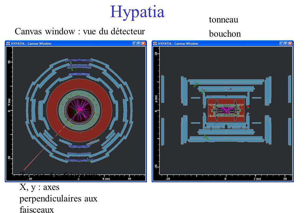 Hypatia Canvas window : vue du détecteur tonneau bouchon Z : axe des faisceaux X, y : axes perpendiculaires aux faisceaux