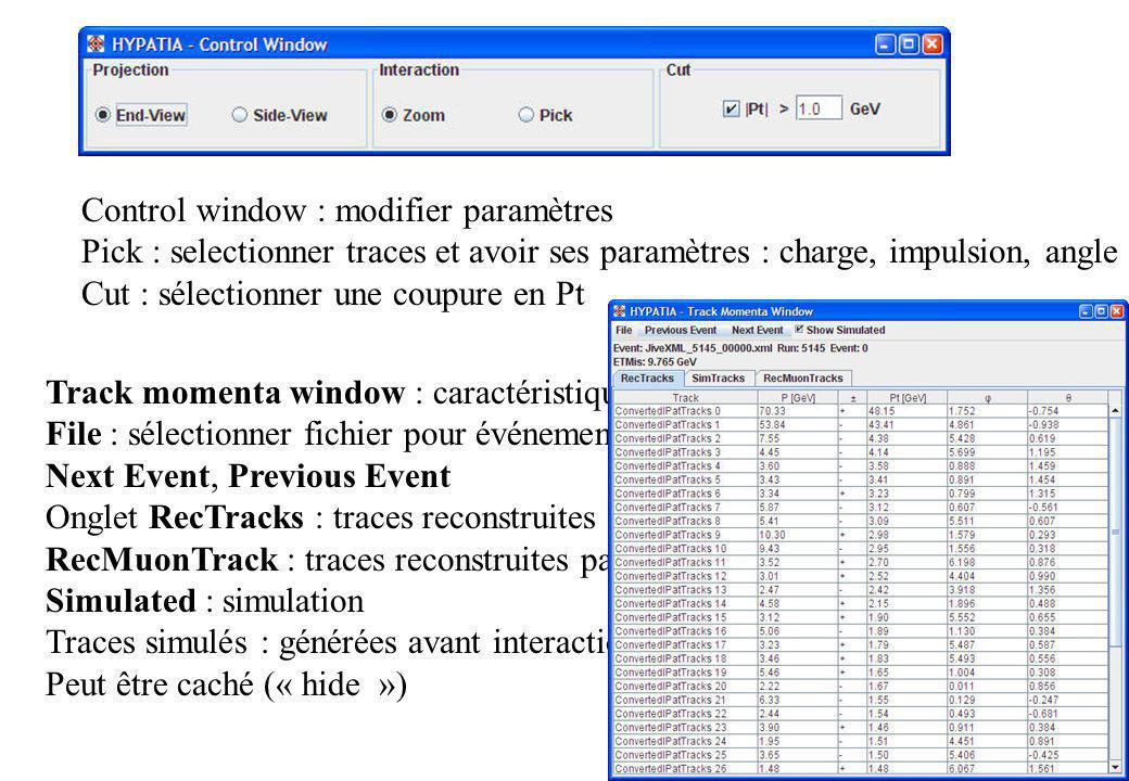 Control window : modifier paramètres Pick : selectionner traces et avoir ses paramètres : charge, impulsion, angle Cut : sélectionner une coupure en P