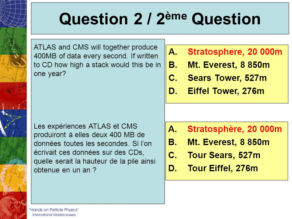 Question 2 / 2 ème Question ATLAS and CMS will together produce 400MB of data every second. If written to CD how high a stack would this be in one yea