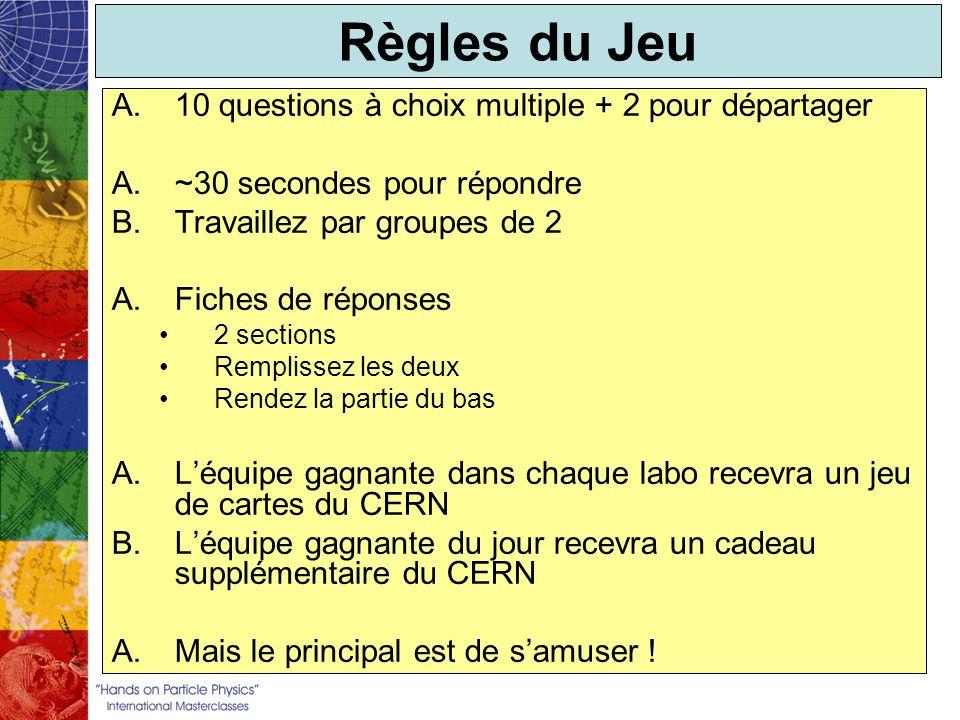 Règles du Jeu A.10 questions à choix multiple + 2 pour départager A.~30 secondes pour répondre B.Travaillez par groupes de 2 A.Fiches de réponses 2 sections Remplissez les deux Rendez la partie du bas A.Léquipe gagnante dans chaque labo recevra un jeu de cartes du CERN B.Léquipe gagnante du jour recevra un cadeau supplémentaire du CERN A.Mais le principal est de samuser !