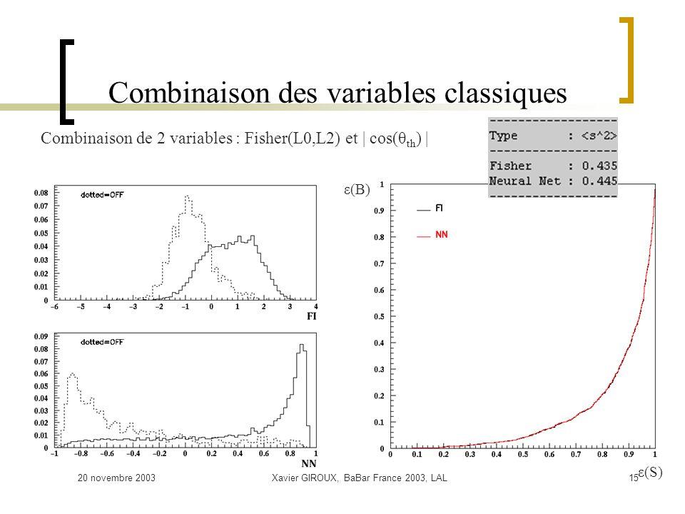 20 novembre 2003Xavier GIROUX, BaBar France 2003, LAL15 Combinaison des variables classiques ε(B) ε(S) Combinaison de 2 variables : Fisher(L0,L2) et | cos(θ th ) |