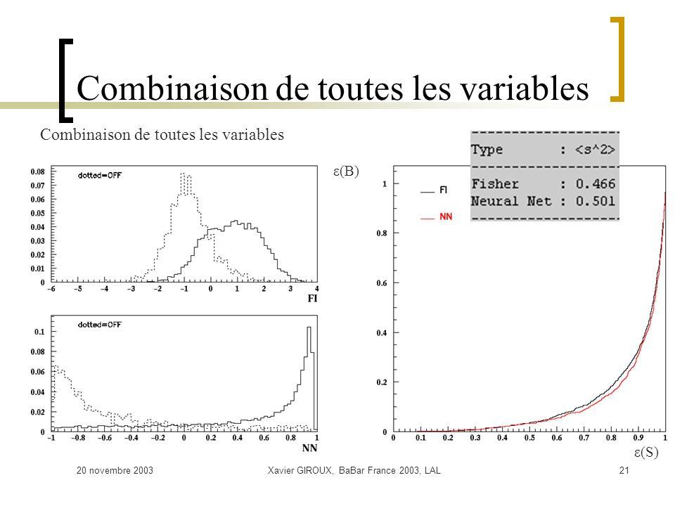 20 novembre 2003Xavier GIROUX, BaBar France 2003, LAL21 Combinaison de toutes les variables ε(S) ε(B)