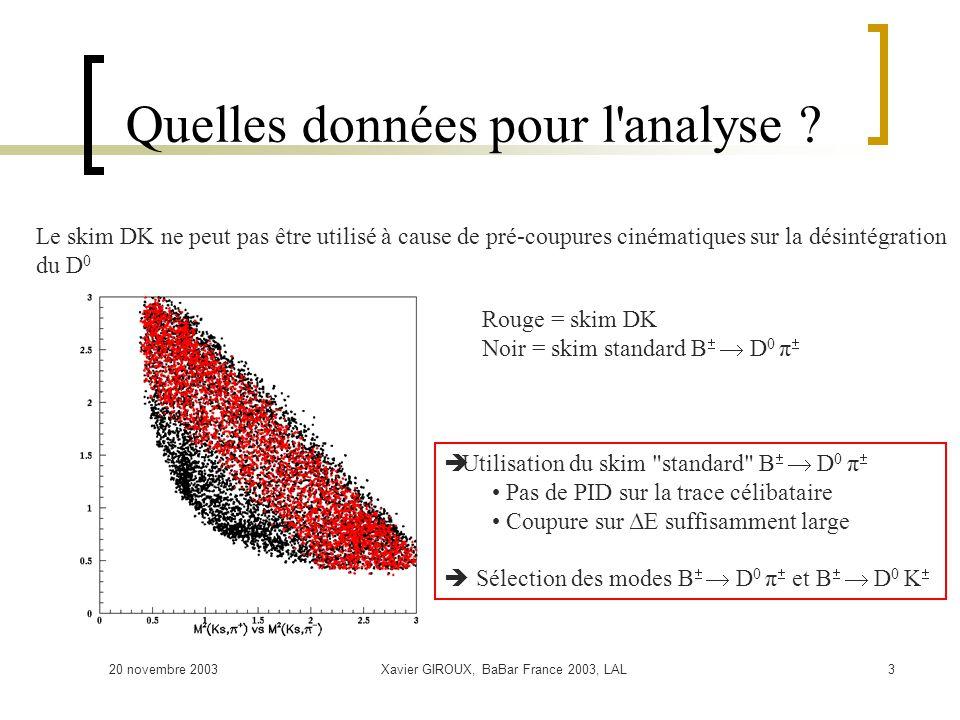 20 novembre 2003Xavier GIROUX, BaBar France 2003, LAL3 Quelles données pour l'analyse ? Rouge = skim DK Noir = skim standard B D 0 π Le skim DK ne peu