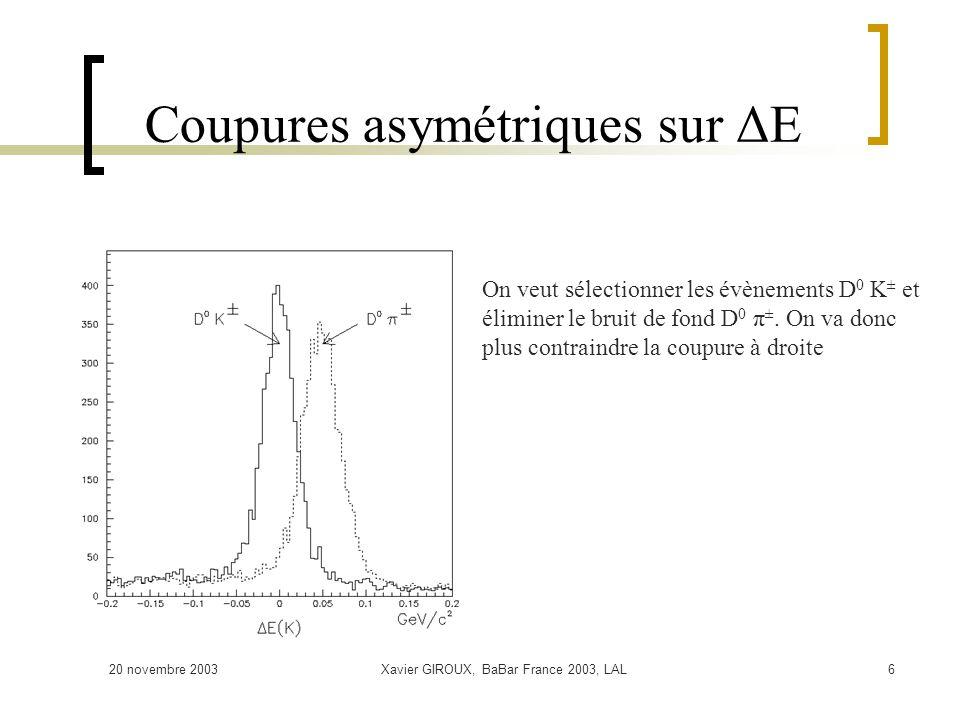 20 novembre 2003Xavier GIROUX, BaBar France 2003, LAL6 Coupures asymétriques sur ΔE On veut sélectionner les évènements D 0 K ± et éliminer le bruit de fond D 0 π ±.