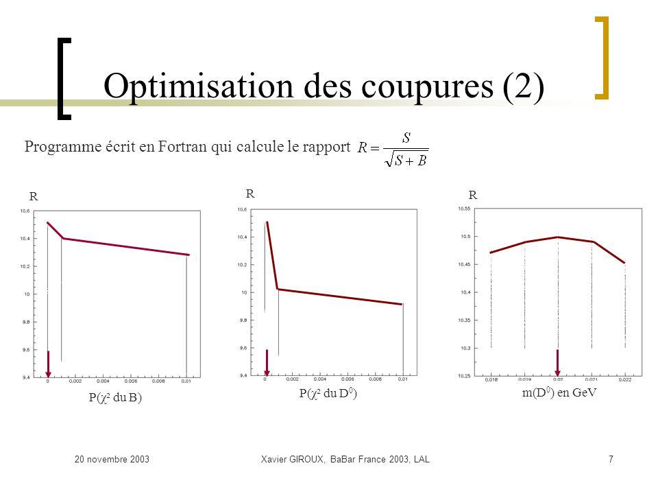 20 novembre 2003Xavier GIROUX, BaBar France 2003, LAL7 Optimisation des coupures (2) R P(χ² du B) Programme écrit en Fortran qui calcule le rapport R P(χ² du D 0 ) R m(D 0 ) en GeV