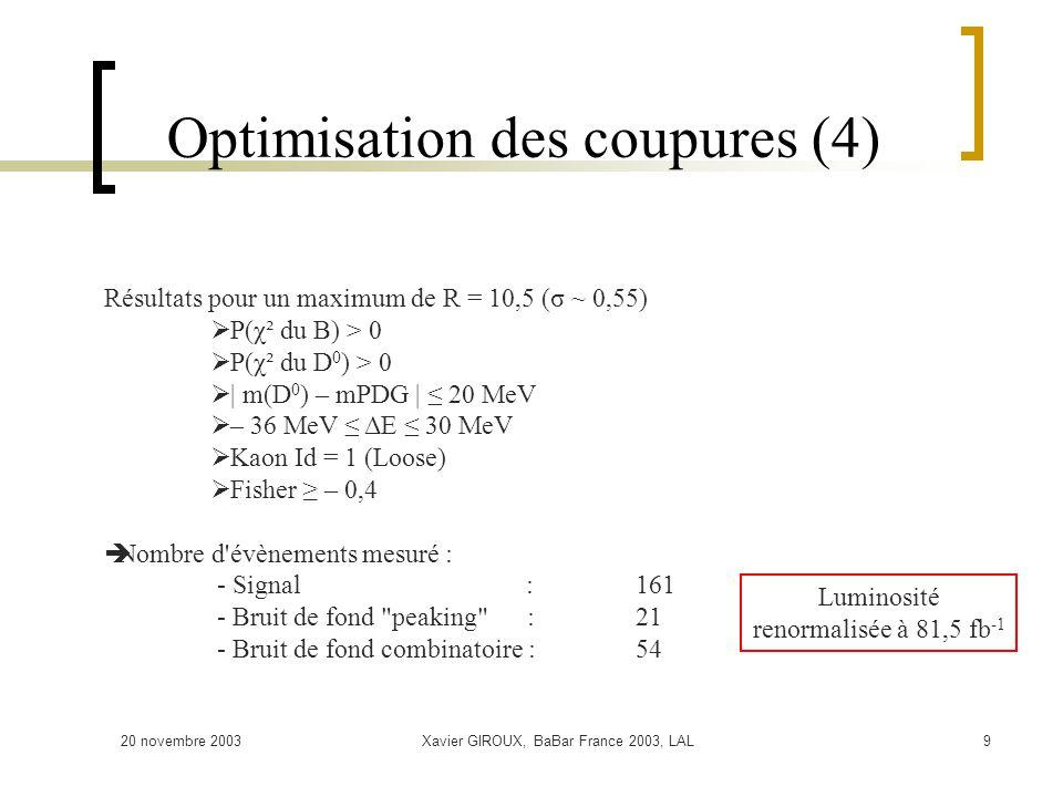 20 novembre 2003Xavier GIROUX, BaBar France 2003, LAL9 Optimisation des coupures (4) Résultats pour un maximum de R = 10,5 (σ ~ 0,55) P(χ² du B) > 0 P(χ² du D 0 ) > 0 | m(D 0 ) – mPDG | 20 MeV – 36 MeV ΔE 30 MeV Kaon Id = 1 (Loose) Fisher – 0,4 Nombre d évènements mesuré : - Signal :161 - Bruit de fond peaking :21 - Bruit de fond combinatoire : 54 Luminosité renormalisée à 81,5 fb -1