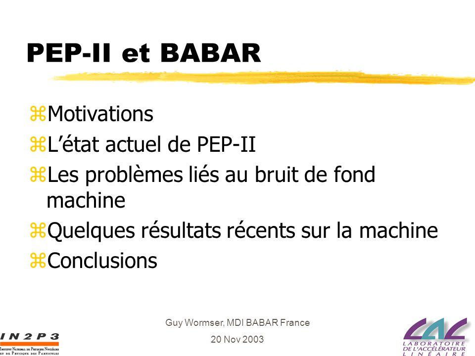 Guy Wormser, MDI BABAR France 20 Nov 2003 PEP-II et BABAR zMotivations zLétat actuel de PEP-II zLes problèmes liés au bruit de fond machine zQuelques résultats récents sur la machine zConclusions