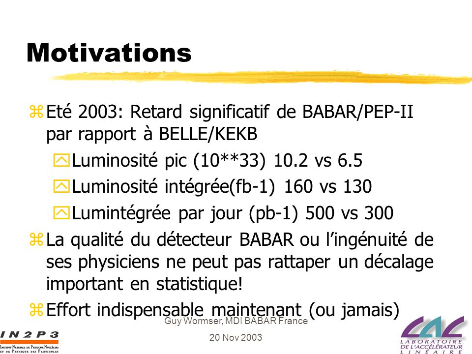Guy Wormser, MDI BABAR France 20 Nov 2003 Motivations zEté 2003: Retard significatif de BABAR/PEP-II par rapport à BELLE/KEKB yLuminosité pic (10**33)