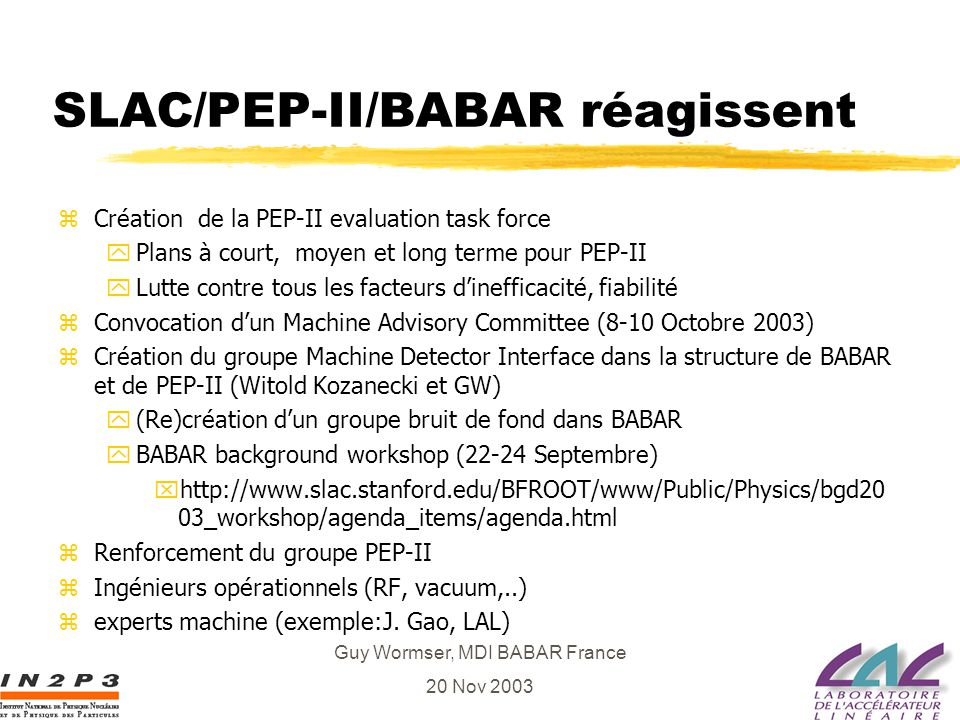 Guy Wormser, MDI BABAR France 20 Nov 2003 Midplane Doses until 2009 Module exchange in 2005 looks well timed with 4 Mrad budget One rotation in 2007 should be able to keep MID modules installed in 2005 below 5 Mrad A rotation will move the high dose in FE:MID to other module