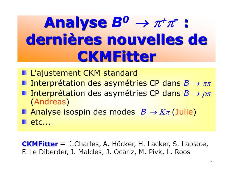 1 Analyse : dernières nouvelles de CKMFitter Analyse B 0 - : dernières nouvelles de CKMFitter Lajustement CKM standard Interprétation des asymétries CP dans B Interprétation des asymétries CP dans B (Andreas) Analyse isospin des modes B (Julie) etc...