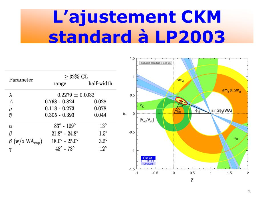 2 Lajustement CKM standard à LP2003