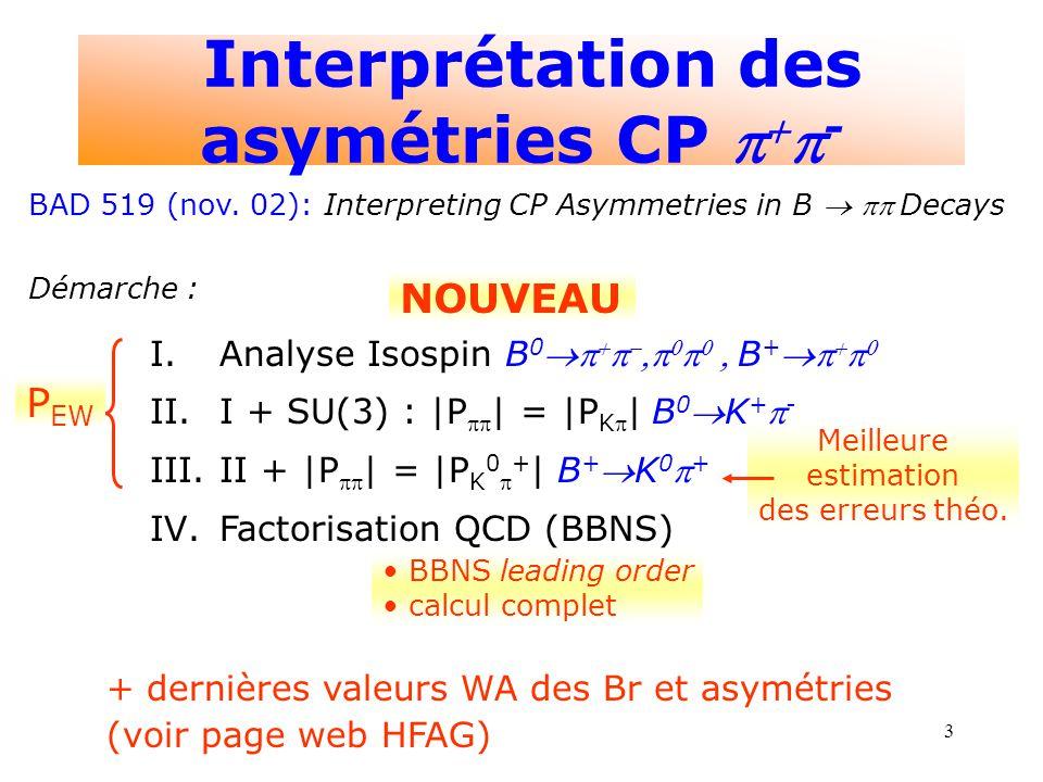 3 P EW NOUVEAU Meilleure estimation des erreurs théo. BBNS leading order calcul complet + dernières valeurs WA des Br et asymétries (voir page web HFA