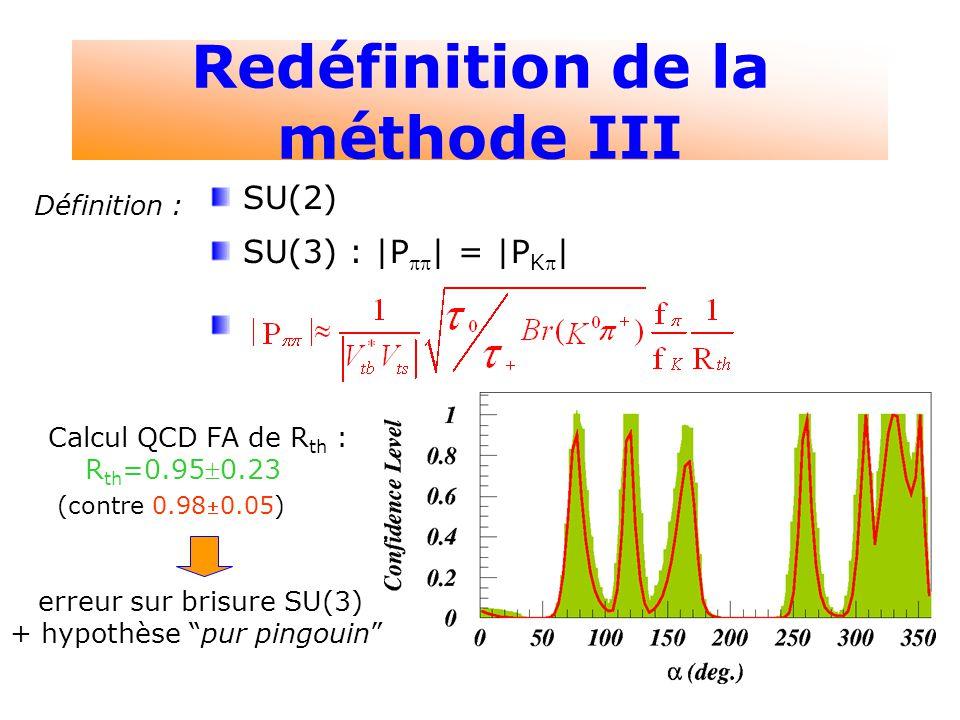 5 Redéfinition de la méthode III Définition : SU(2) SU(3) : |P | = |P K | Calcul QCD FA de R th : R th =0.950.23 (contre 0.980.05) erreur sur brisure