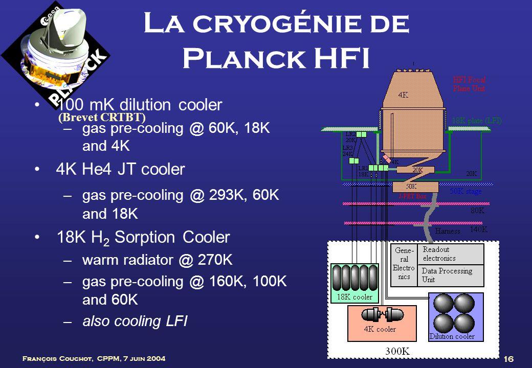 François Couchot, CPPM, 7 juin 2004 16 La cryogénie de Planck HFI 100 mK dilution cooler –gas pre-cooling @ 60K, 18K and 4K 4K He4 JT cooler –gas pre-