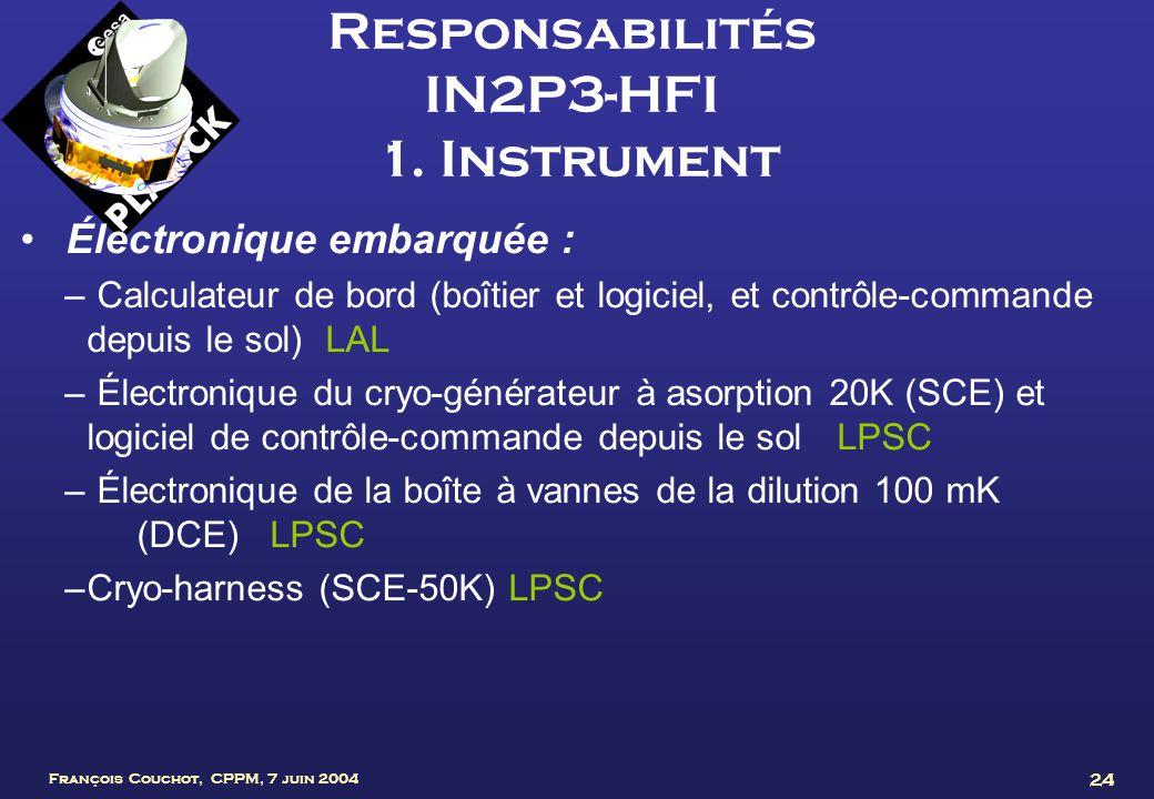 François Couchot, CPPM, 7 juin 2004 24 Responsabilités IN2P3-HFI 1. Instrument Électronique embarquée : – Calculateur de bord (boîtier et logiciel, et