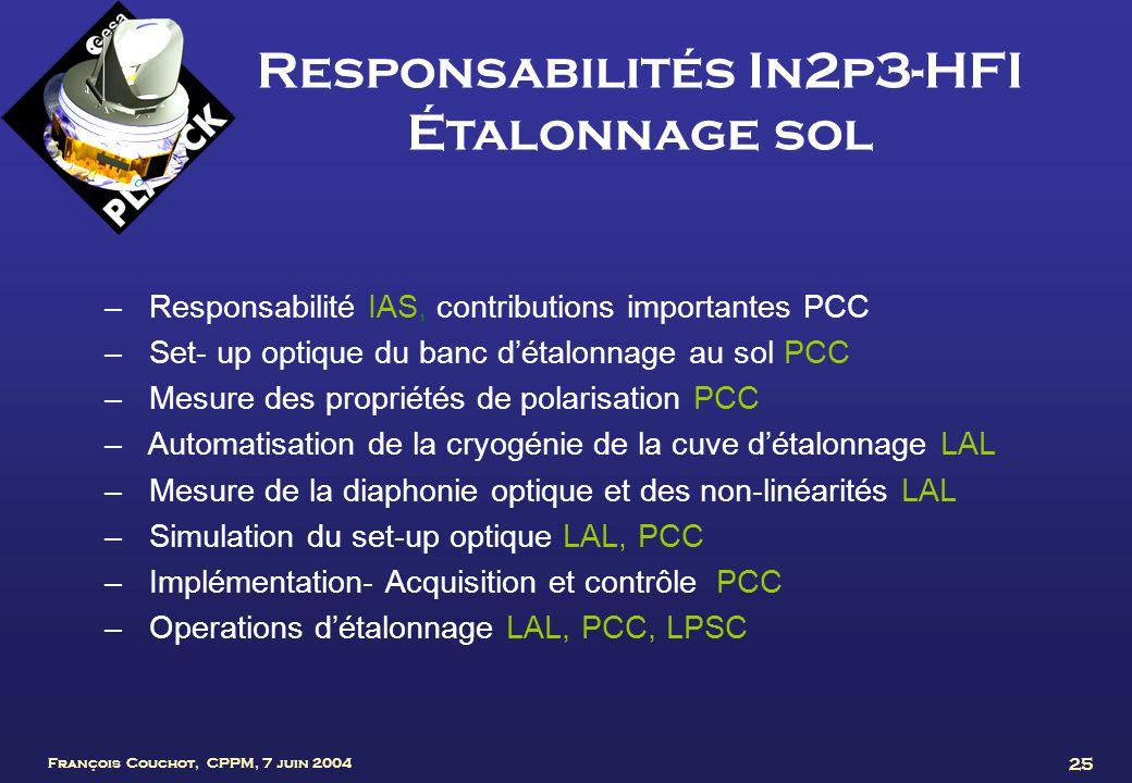 François Couchot, CPPM, 7 juin 2004 25 Responsabilités In2p3-HFI Étalonnage sol – Responsabilité IAS, contributions importantes PCC – Set- up optique