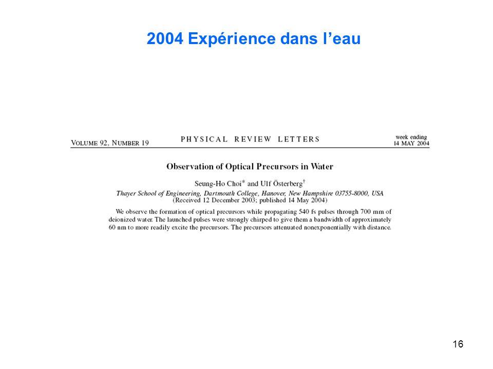 16 2004 Expérience dans leau