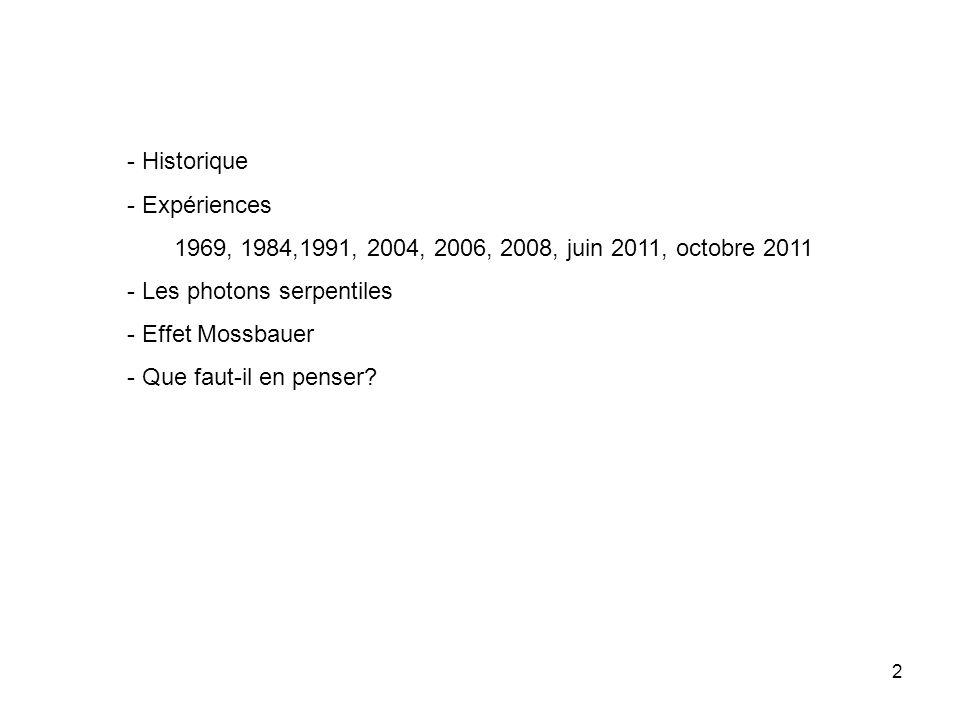 2 - Historique - Expériences 1969, 1984,1991, 2004, 2006, 2008, juin 2011, octobre 2011 - Les photons serpentiles - Effet Mossbauer - Que faut-il en penser