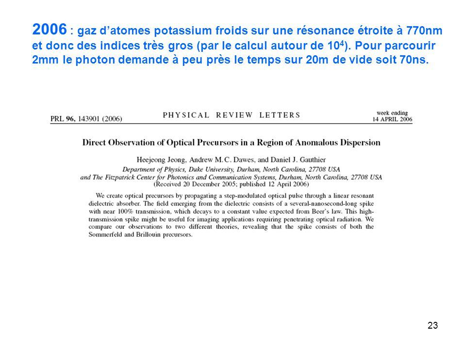 23 2006 : gaz datomes potassium froids sur une résonance étroite à 770nm et donc des indices très gros (par le calcul autour de 10 4 ).