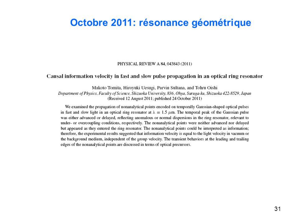 31 Octobre 2011: résonance géométrique