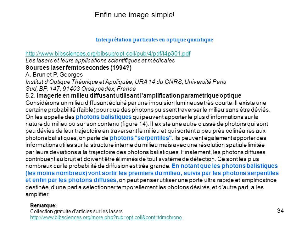 34 Interprétation particules en optique quantique http://www.bibsciences.org/bibsup/opt-coll/pub/4/pdf/t4p301.pdf Les lasers et leurs applications scientifiques et médicales Sources laser femtosecondes (1994 ) A.