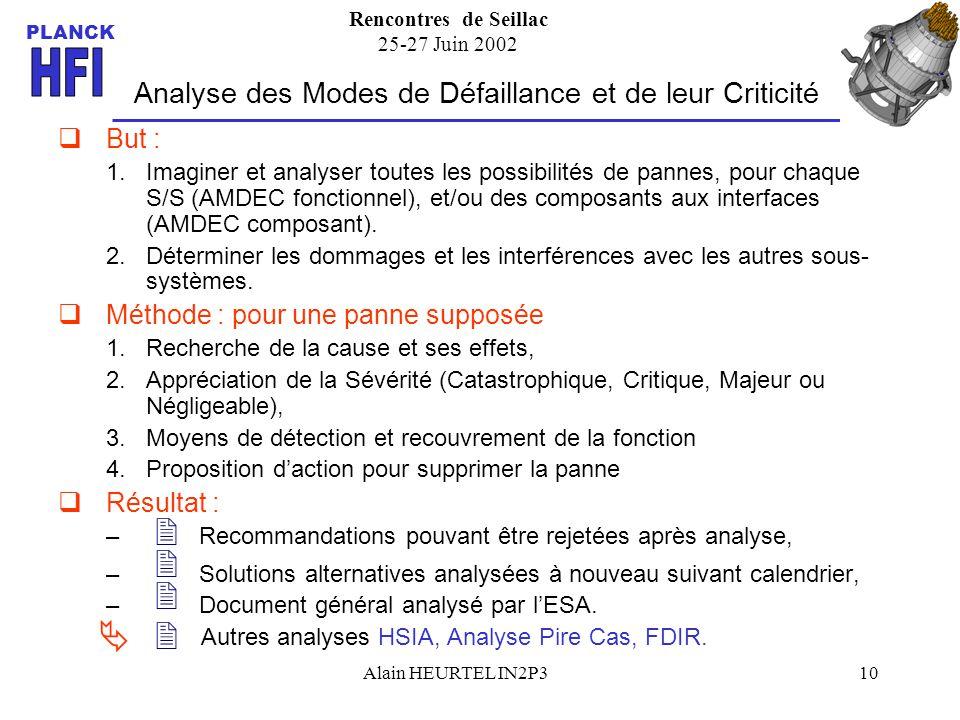 Rencontres de Seillac 25-27 Juin 2002 PLANCK Alain HEURTEL IN2P310 Analyse des Modes de Défaillance et de leur Criticité But : 1.Imaginer et analyser toutes les possibilités de pannes, pour chaque S/S (AMDEC fonctionnel), et/ou des composants aux interfaces (AMDEC composant).