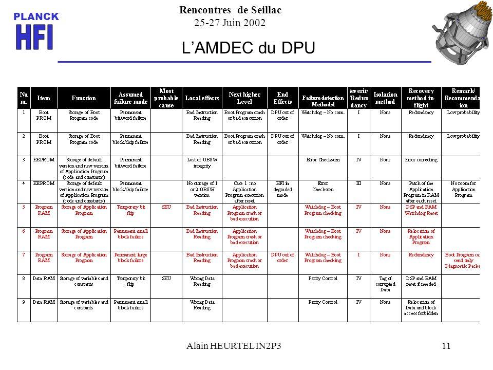 Rencontres de Seillac 25-27 Juin 2002 PLANCK Alain HEURTEL IN2P311 LAMDEC du DPU